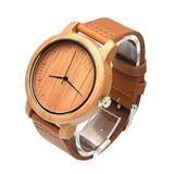 Hemobllo Men Wooden Wristwatch Leather Band Quartz Movement Watch Decorative Analog Watch for Adult Style 3