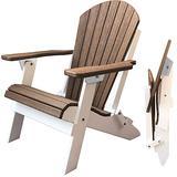 DURAWEATHER POLY Classic King Size Folding Adirondack Chair (Antique Mahogany on White)