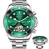 Fashion Men Mechanical Watches Green Automatic Watch Waterproof for Men Day Date Self Winding Watch Luminous Silver Stainless Steel Movement Watches Men No Battery,Swiss Automatic Watch for Men OLEVS