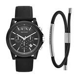 Armani Exchange Men's AX1326 Silicone Watch with Fabric ID Bracelet, Black