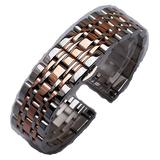 14mm 16mm 18mm 20mm 22mm 24mm Silver with Gold Stainless Steel Bracelets Watchband Strap Beautiful Belt for Men Women (24mm, Silver and Rosegold)
