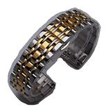 14mm 16mm 18mm 20mm 22mm 24mm Silver with Gold Stainless Steel Bracelets Watchband Strap Beautiful Belt for Men Women (24mm, Silver and Gold)