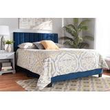 Baxton Studio Clare Glam & Luxe Navy Blue Velvet Fabric Full Size Panel Bed /w Channel Tufted Headboard - Wholesale Interiors CF8747X-Navy Blue Velvet-Full