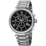 Chronograph Black Dial Watch - Metallic - August Steiner Watches
