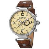 Quartz Yellow Dial Brown Leather Watch - Metallic - August Steiner Watches