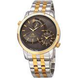 Quartz Dual Time Grey Dial Two-tone Mens Watch - Metallic - August Steiner Watches