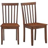COSTWAY Set of 2 Slat Back Dining Chairs, Transitional Dining Side Chairs, Thickened Rubber Wood Legs, Sturdy Construction Side Chairs with Smooth Surface, Comfort for Living Room, Bedroom, Kitchen