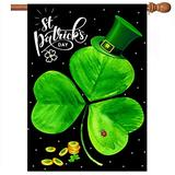 St. Patrick's Day Garden Flag, Green Clover St. Patrick's Welcome House Flag 28 x 40 Double Sided Printed Linen, Used for St. Patrick's Day Garden and Outdoor Home Decoration