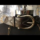 Michael Kors Accessories | Mk Studded Diamond Pattern Belt Size S | Color: Brown/Silver | Size: Small