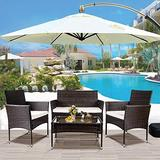 Rainbow Tree 4 Pieces Patio Furniture, Rattan Sectional Chair Conversation Outdoor Furniture Set, with Tea Coffee Table and Single Armchairs, Suitable for Family Garden Use (Brown)
