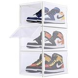 COAWG Shoe Box, Pack of 3 Stackable Shoe Organizer with Clear Door for Sneakers Collection, Plastic Shoe Storage Container for Size Up to US 14(White)