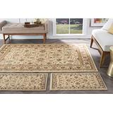 Raleigh Beige 3 Piece Area Rug Set for Home, Room, and Decor - Traditional, Floral