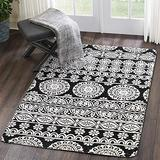 Mandala Collection Area Rug 3' X 5', KIMODE Vintage Soft Faux Wool Area Rug Accent Distressed Non-Slip Machine Washable Indoor Throw Rugs Floor Carpet for Bedrooms Living Room Laundry Room Home Décor
