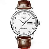 GUANQIN Men Analog Rhinestone Dial Automatic Self-Winding Mechanical Stainless Steel/Leather Band Wrist Watch Luminous Date (Silver White Brown)