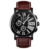 New Men Sports Watches Casual Men Watches Leather Band Analog Quartz Chronograph Wristwatches Business Casual Watches for Man