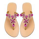 Women's Summer Rhinestone Bling Wedding Sandals,Glitter Jeweled Sandals,Dressy Flat Sandals,Beach Flip-Flops, Size 13 Rose red&Gold