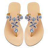 Women's Summer Rhinestone Bling Wedding Sandals,Glitter Jeweled Sandals,Dressy Flat Sandals,Beach Flip-Flops, Size 9.5 Blue&Gold
