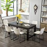 Roundhill Furniture Bronco Antique Wood Finished Dining Set: Table and Six Chairs, White