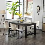 Roundhill Furniture Bronco Antique Wood Finished Dining Set: Table and Four Chairs, White