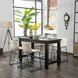 Roundhill Furniture Bronco Antique Wood Finished Counter Height Dining Set: Table and Four Chairs, White