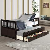 Danxee Wood Bed Captain's Bed Storage Twin Daybed with Trundle Bed and Storage Drawers Platform Bed Kids Bed (Espresso)