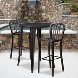 30'' Round Black-Antique Gold Metal Indoor-Outdoor Bar Table Set with 2 Vertical Slat Back Stools - Flash Furniture CH-51090BH-2-30VRT-BQ-GG
