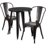 24'' Round Black-Antique Gold Metal Indoor-Outdoor Table Set with 2 Cafe Chairs - Flash Furniture CH-51080TH-2-18CAFE-BQ-GG