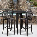 30'' Round Black-Antique Gold Metal Indoor-Outdoor Bar Table Set with 4 Vertical Slat Back Stools - Flash Furniture CH-51090BH-4-30VRT-BQ-GG
