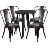 24'' Round Black-Antique Gold Metal Indoor-Outdoor Table Set with 4 Cafe Chairs - Flash Furniture CH-51080TH-4-18CAFE-BQ-GG