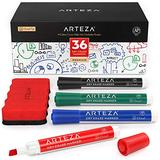 Arteza Dry Erase Markers, Bulk Pack of 36 (Chisel Tip) with Magnetic Eraser, 4 Assorted Colors with Low-Odor Ink, Whiteboard Pens, Office Supplies for School, Office, or Home
