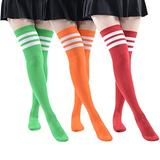 MK MEIKAN Extra Long Thigh High Green Socks, Women's Costume Play Dressing Red Orange Over Knee High Boot Stockings Colorful Fashion Socks for Women Gifts for Mom 3 Pairs (Wine Red, Orange, Green)