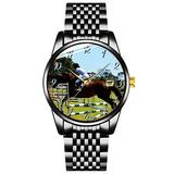 Unique Watch, Watch Black Stainless Steel Band Watch for Men Ladies Couples Kids Boys & GirlsShow_Jumping_Horse_Ladies_Square_Leather_Watch Wrist Watches Personalized Classic Fashion Watch