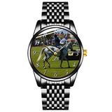 Unique Watch, Watch Black Stainless Steel Band Watch for Men Ladies Couples Kids Boys & GirlsShow_Jumping_Horse_Girls_Pink_Hearts_Watch. Watches Personalized Classic Fashion Watch