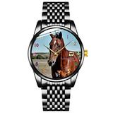 Unique Watch, Watch Black Stainless Steel Band Watch for Men Ladies Couples Kids Boys & GirlsWrist Watch with Horse Image on face Personalized Classic Fashion Watch