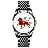 Unique Watch, Watch Black Stainless Steel Band Watch for Men Ladies Couples Kids Boys & GirlsIcelandic Horse Festive Stars Wristwatch Personalized Classic Fashion Watch
