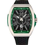 Franck Muller Vanguard Racing Mens Stainless Steel Automatic Watch - Black Face with Luminous Hands, Date and Sapphire Crystal - Black Leather/Rubber Strap Swiss Made Watch V 45 SC Racing BLK GR