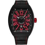 Franck Muller Vanguard Mens Titanium Swiss Automatic Watch - Tonneau Black Face with Luminous Hands, Date and Sapphire Crystal - Black Leather/Rubber Strap Swiss Made Watch for Men 45SCBLKBLKREDFL