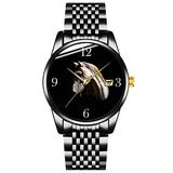Unique Watch, Watch Black Stainless Steel Band Watch for Men Ladies Couples Kids Boys & GirlsGhostly White Horse Face Wrist Watches Personalized Classic Fashion Watch