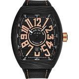 Franck Muller Vanguard Mens Titanium Swiss Automatic Watch - Tonneau Black Face with Luminous Hands, Date and Sapphire Crystal - Black Leather/Rubber Strap Swiss Made Watch for Men 45SCBLKBLKGLDFL