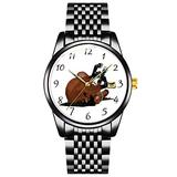 Unique Watch, Watch Black Stainless Steel Band Watch for Men Ladies Couples Kids Boys & GirlsDigitally Drawn Bay or Brown Horse Rolling on Back Wristwatch Personalized Classic Fashion Watch