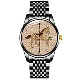Unique Watch, Watch Black Stainless Steel Band Watch for Men Ladies Couples Kids Boys & GirlsCarousel Horse - Chocolate Brown and Tan Watches Personalized Classic Fashion Watch
