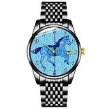 Unique Watch, Watch Black Stainless Steel Band Watch for Men Ladies Couples Kids Boys & GirlsCarousel Horse - Cobalt and Sky Blue Watch Personalized Classic Fashion Watch