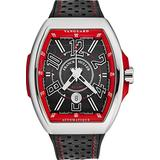 Franck Muller Vanguard Racing Mens Stainless Steel Automatic Watch - Black Face with Luminous Hands, Date and Sapphire Crystal - Black Leather/Rubber Strap Swiss Made Watch V 45 SC Racing BLK RD