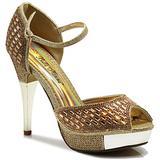 Enzo Romeo Angie15 Womens Open Toe High Heel Wedding Rhinestone Mesh Sling Back Sandal Wedge Shoes (8.5, Gold(16))