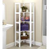 The Lakeside Collection L-Shaped Corner Unit with 4 Shelves - Home Office Organization - White