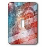 3dRose Patriotic Lady Liberty Digital Collage Features the Statue of Liberty & American Flag Toggle Light Switch in Blue/Red | Wayfair lsp_19439_1