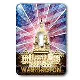 3dRose Washington DC Patriotic American Flag w/ Bald Eagle & Capitol Building Single Toggle Light Switch in Blue/Red, Size 5.0 H x 3.5 W x 0.06 D in