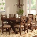 Dining Room Set - Laurel Foundry Modern Farmhouse® Isabell Extendable Solid Wood Dining Set, 9 Pieces: 1 Table, 8 Chairs, Brown