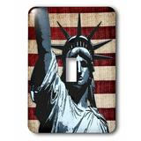 3dRose Liberty Flag Patriotic Statue of Liberty w/ American Flag & Liberty Text Single Toggle Light Switch in Gray/Red | Wayfair lsp_21925_1