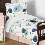 Sweet Jojo Designs 5 Piece Toddler Bedding Set Polyester in Blue/Green/Pink | Wayfair WatercolorFloral-PK-BU-Tod